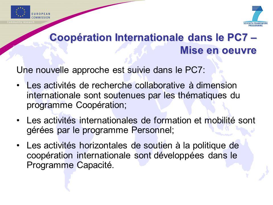 Coopération Internationale dans le PC7 – Mise en oeuvre Une nouvelle approche est suivie dans le PC7: Les activités de recherche collaborative à dimension internationale sont soutenues par les thématiques du programme Coopération; Les activités internationales de formation et mobilité sont gérées par le programme Personnel; Les activités horizontales de soutien à la politique de coopération internationale sont développées dans le Programme Capacité.