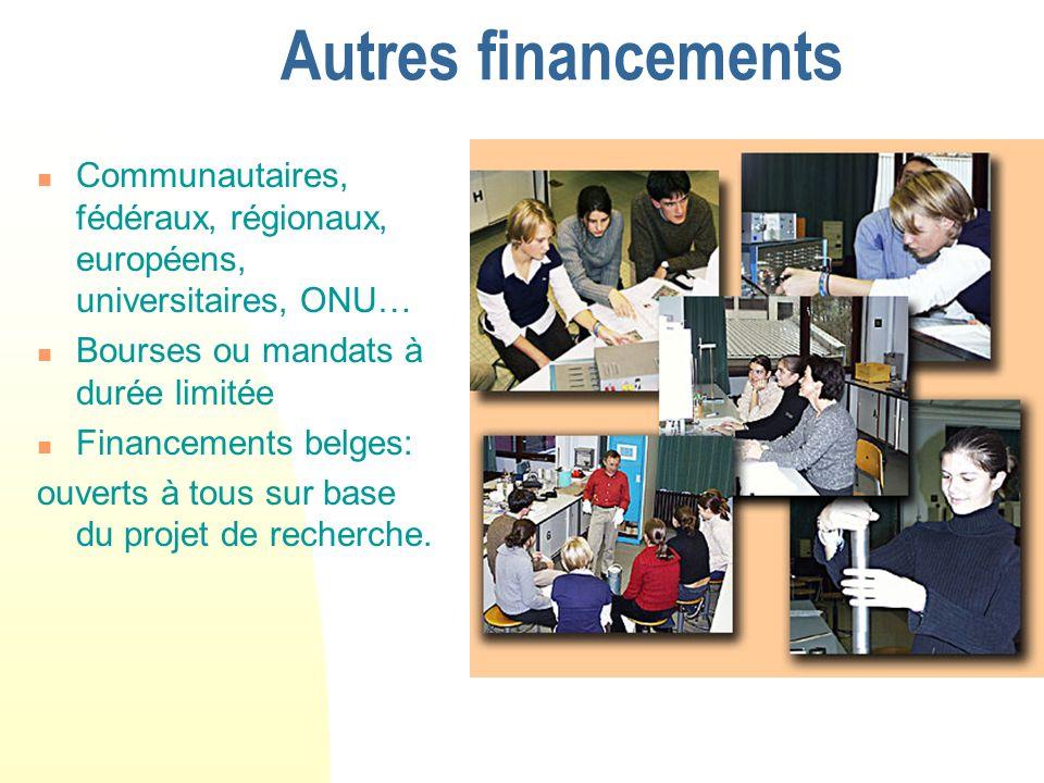Autres financements Communautaires, fédéraux, régionaux, européens, universitaires, ONU… Bourses ou mandats à durée limitée Financements belges: ouverts à tous sur base du projet de recherche.