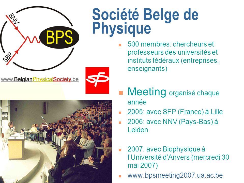 Société Belge de Physique 500 membres: chercheurs et professeurs des universités et instituts fédéraux (entreprises, enseignants) Meeting organisé chaque année 2005: avec SFP (France) à Lille 2006: avec NNV (Pays-Bas) à Leiden 2007: avec Biophysique à lUniversité dAnvers (mercredi 30 mai 2007) www.bpsmeeting2007.ua.ac.be