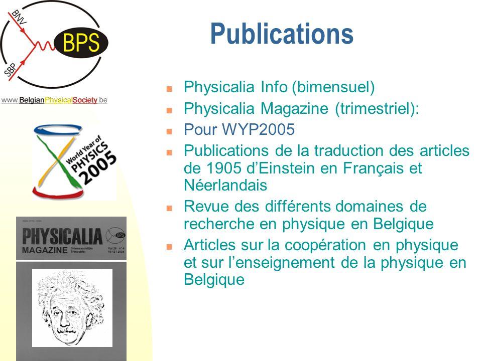 Conclusions La société belge de physique Apports des universités à la coopération en physique Différentes sources de financements Caractéristiques des projets existants Perspectives futures