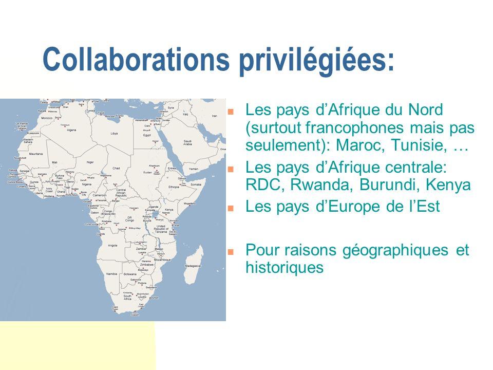Collaborations privilégiées: Les pays dAfrique du Nord (surtout francophones mais pas seulement): Maroc, Tunisie, … Les pays dAfrique centrale: RDC, Rwanda, Burundi, Kenya Les pays dEurope de lEst Pour raisons géographiques et historiques