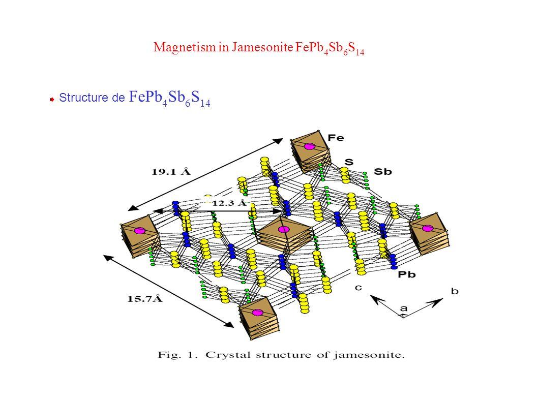 Magnetism in Jamesonite FePb 4 Sb 6 S 14 Structure de FePb 4 Sb 6 S 14