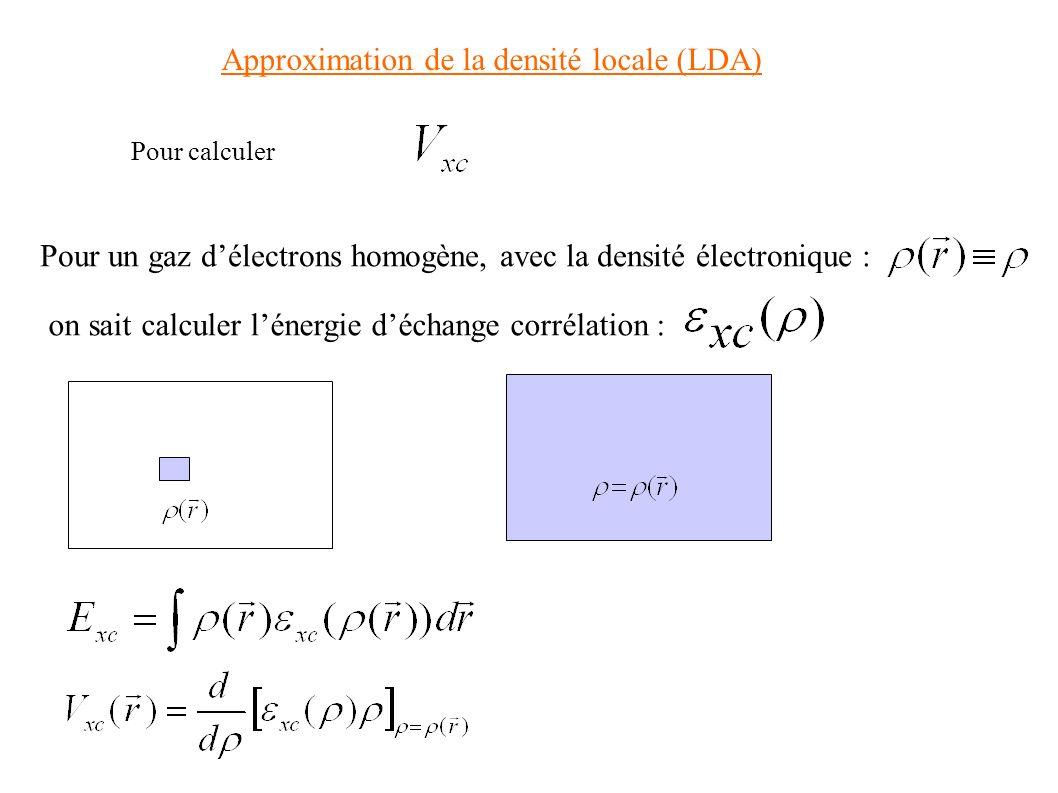 Approximation de la densité locale (LDA) Pour calculer Pour un gaz délectrons homogène, avec la densité électronique : on sait calculer lénergie décha