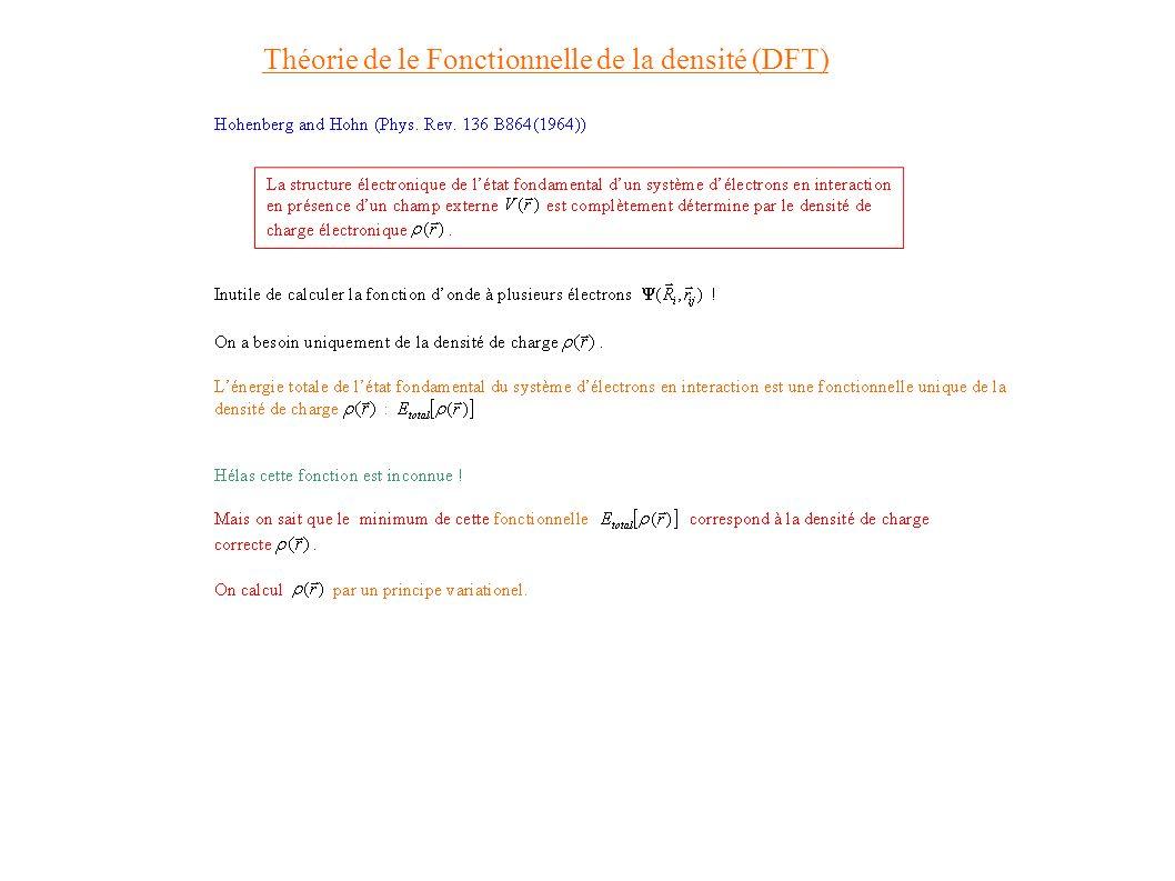 Density Functional Theory Théorie de le Fonctionnelle de la densité (DFT)
