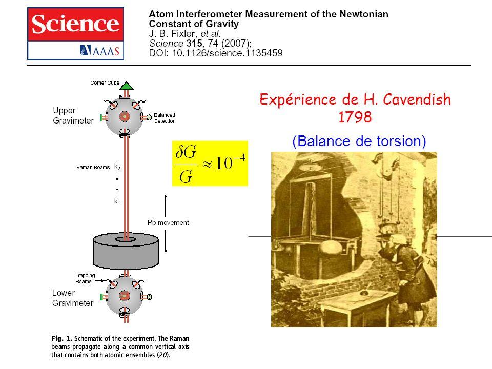 Expérience de H. Cavendish 1798 (Balance de torsion)