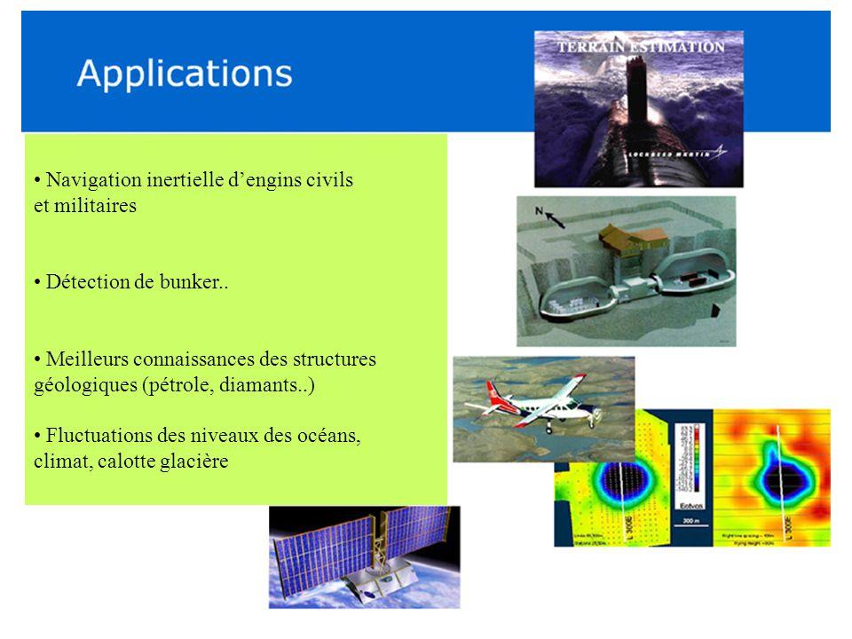 Navigation inertielle dengins civils et militaires Détection de bunker.. Meilleurs connaissances des structures géologiques (pétrole, diamants..) Fluc