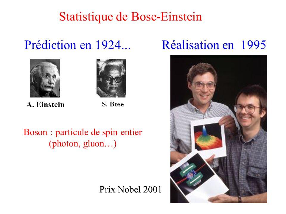 Prédiction en 1924... Réalisation en 1995 A. Einstein S. Bose Prix Nobel 2001 Boson : particule de spin entier (photon, gluon…) Statistique de Bose-Ei