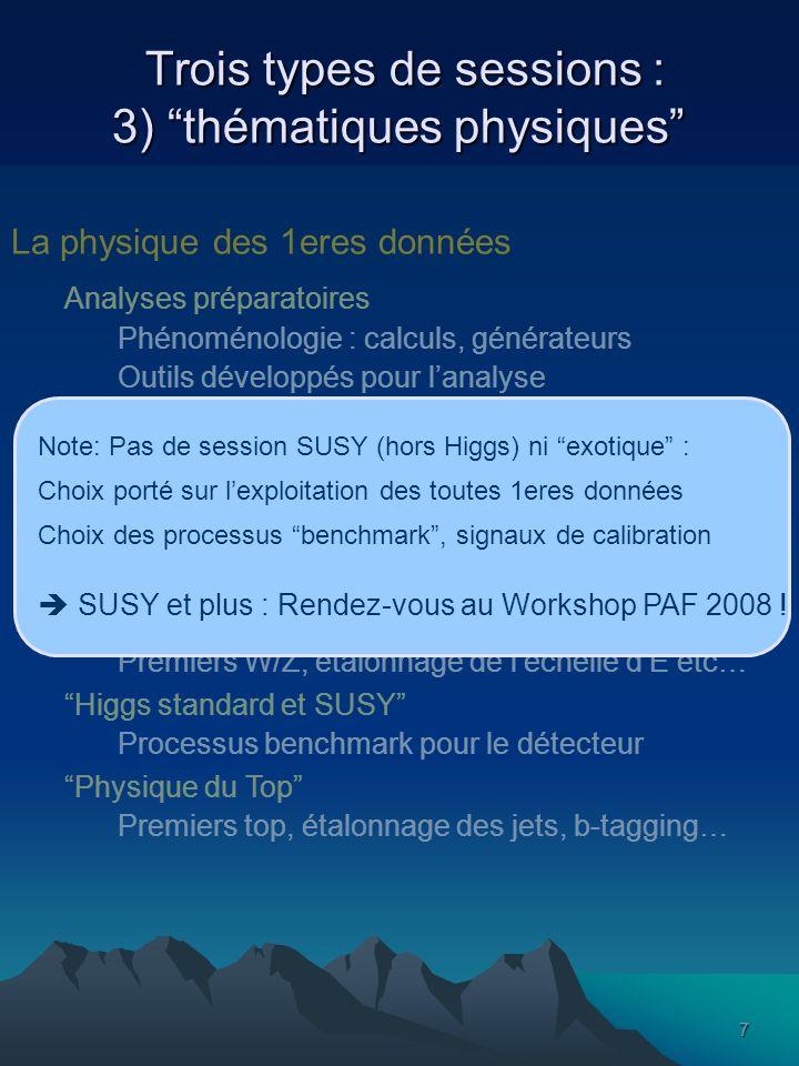 7 Trois types de sessions : 3) thématiques physiques Trois types de sessions : 3) thématiques physiques La physique des 1eres données Analyses préparatoires Phénoménologie : calculs, générateurs Outils développés pour lanalyse Orientations du comissionning Analyse des signaux de calibration Connaissance des fonds… Principales thématiques de lIN2P3/Dapnia W/Z Premiers W/Z, étalonnage de léchelle dE etc… Higgs standard et SUSY Processus benchmark pour le détecteur Physique du Top Premiers top, étalonnage des jets, b-tagging… Note: Pas de session SUSY (hors Higgs) ni exotique : Choix porté sur lexploitation des toutes 1eres données Choix des processus benchmark, signaux de calibration SUSY et plus : Rendez-vous au Workshop PAF 2008 !