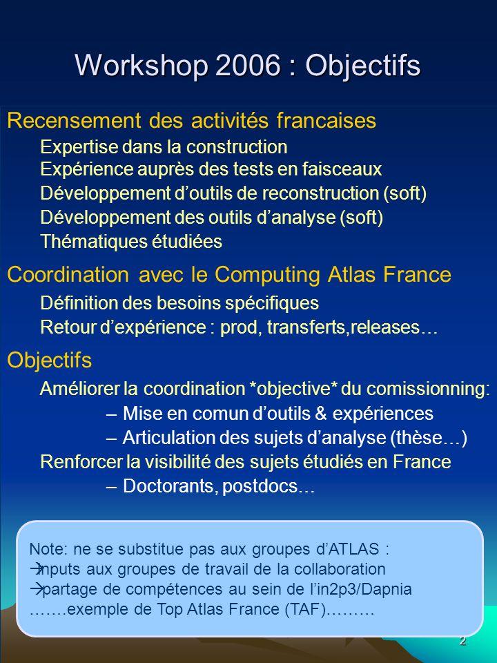 2 Workshop 2006 : Objectifs Recensement des activités francaises Expertise dans la construction Expérience auprès des tests en faisceaux Développement