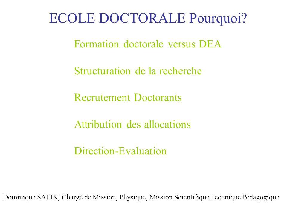 ECOLE DOCTORALE Les écoles doctorales organisent la formation des docteurs et les préparent à leur insertion professionnelle.