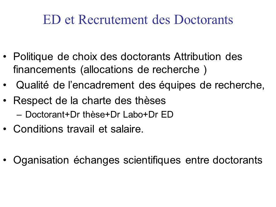 ED et Formation des Doctorants Formations utiles à leur projet de recherche, à leur projet professionnel et à une culture scientifique élargie.
