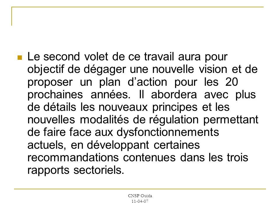 CNSP Oujda 11-04-07 Le second volet de ce travail aura pour objectif de dégager une nouvelle vision et de proposer un plan daction pour les 20 prochai