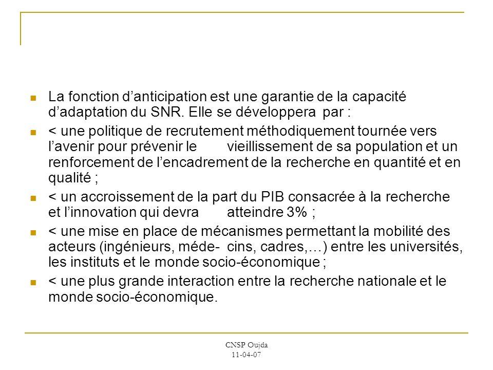 CNSP Oujda 11-04-07 La fonction danticipation est une garantie de la capacité dadaptation du SNR. Elle se développera par : < une politique de recrute