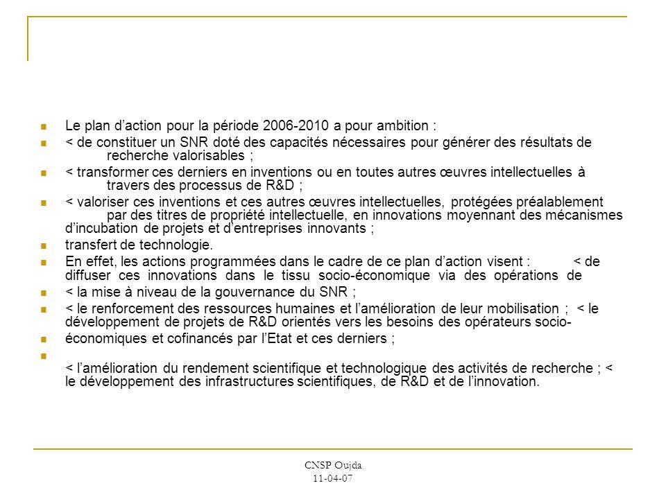CNSP Oujda 11-04-07 Le plan daction pour la période 2006-2010 a pour ambition : < de constituer un SNR doté des capacités nécessaires pour générer des
