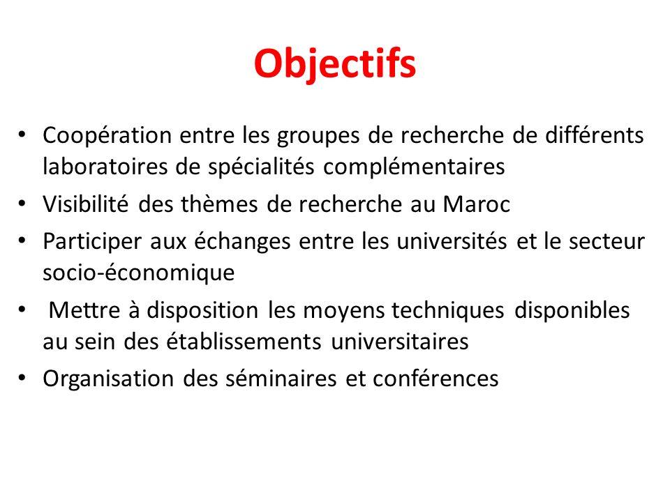Objectifs Coopération entre les groupes de recherche de différents laboratoires de spécialités complémentaires Visibilité des thèmes de recherche au M