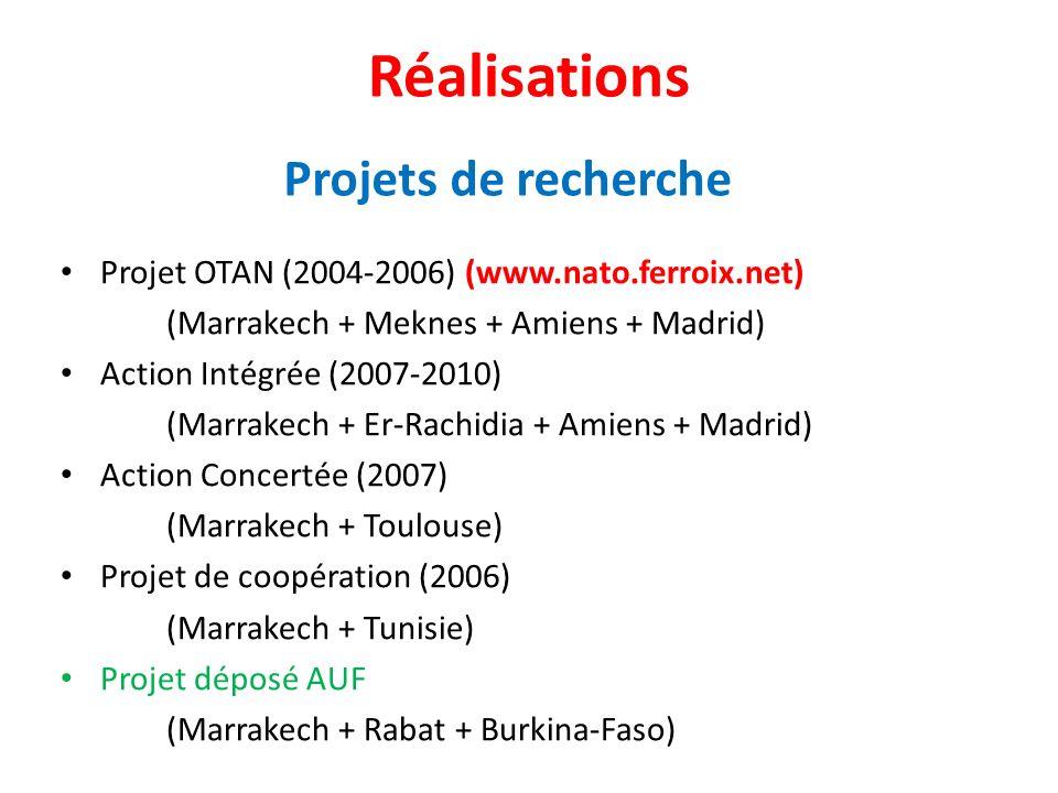 Réalisations Projet OTAN (2004-2006) (www.nato.ferroix.net) (Marrakech + Meknes + Amiens + Madrid) Action Intégrée (2007-2010) (Marrakech + Er-Rachidi