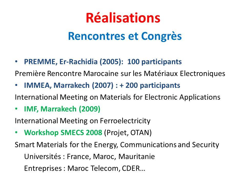 PREMME, Er-Rachidia (2005): 100 participants Première Rencontre Marocaine sur les Matériaux Electroniques IMMEA, Marrakech (2007) : + 200 participants