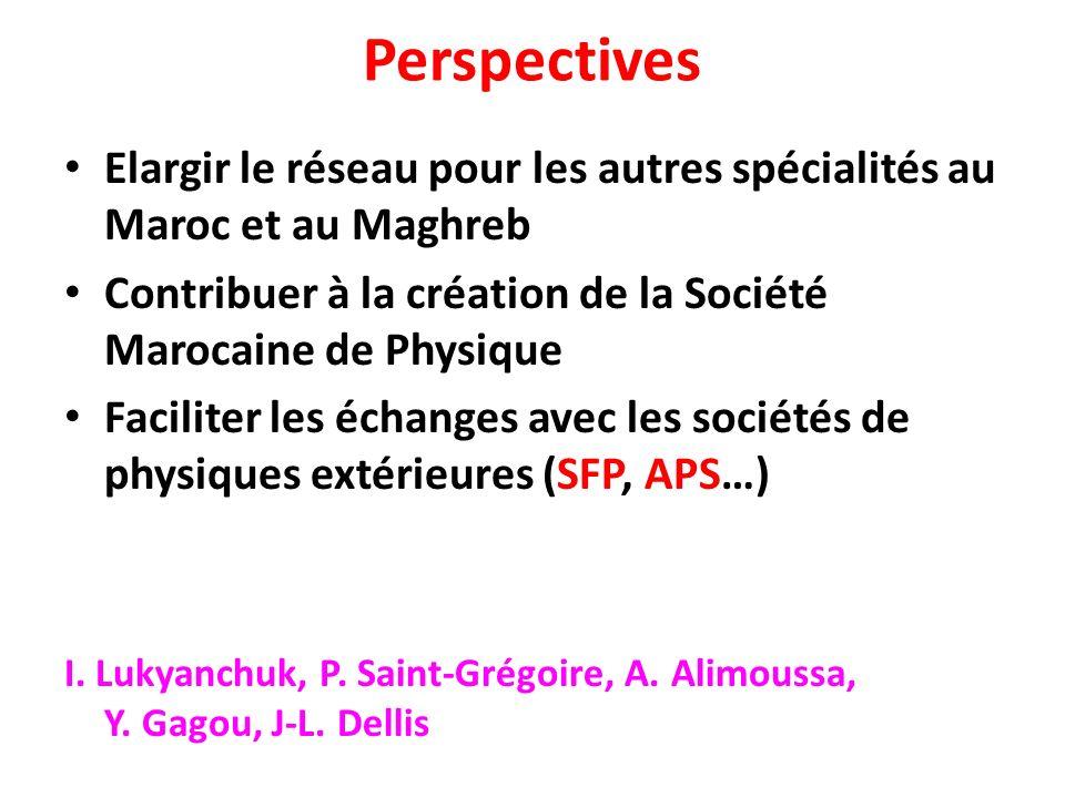 Perspectives Elargir le réseau pour les autres spécialités au Maroc et au Maghreb Contribuer à la création de la Société Marocaine de Physique Facilit