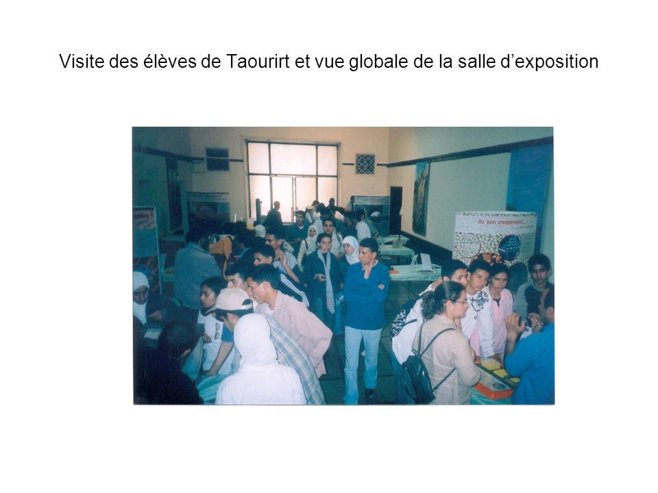 Visite des élèves de Taourirt et vue globale de la salle dexposition