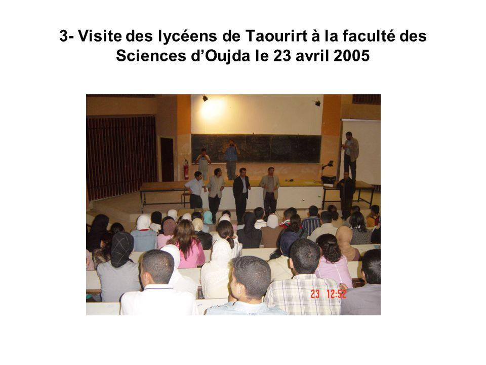 3- Visite des lycéens de Taourirt à la faculté des Sciences dOujda le 23 avril 2005