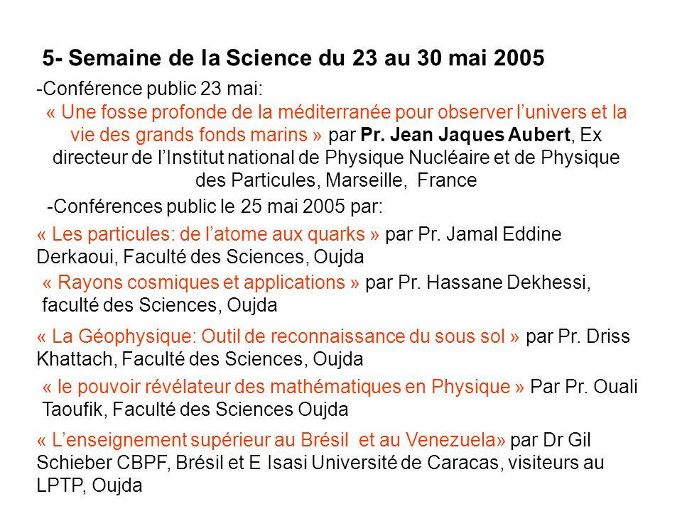 5- Semaine de la Science du 23 au 30 mai 2005 -Conférence public 23 mai: « Une fosse profonde de la méditerranée pour observer lunivers et la vie des