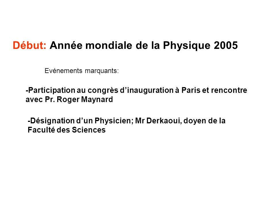 Début: Année mondiale de la Physique 2005 -Désignation dun Physicien; Mr Derkaoui, doyen de la Faculté des Sciences -Participation au congrès dinaugur