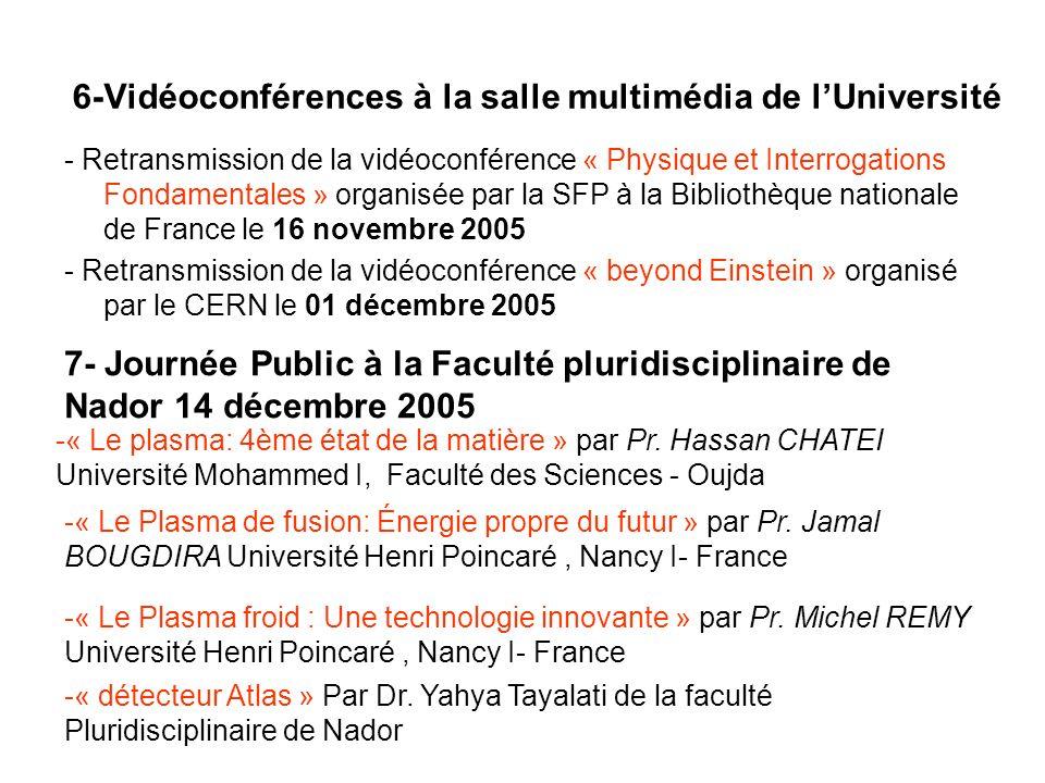 6-Vidéoconférences à la salle multimédia de lUniversité - Retransmission de la vidéoconférence « Physique et Interrogations Fondamentales » organisée