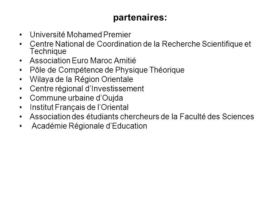 partenaires: Université Mohamed Premier Centre National de Coordination de la Recherche Scientifique et Technique Association Euro Maroc Amitié Pôle d