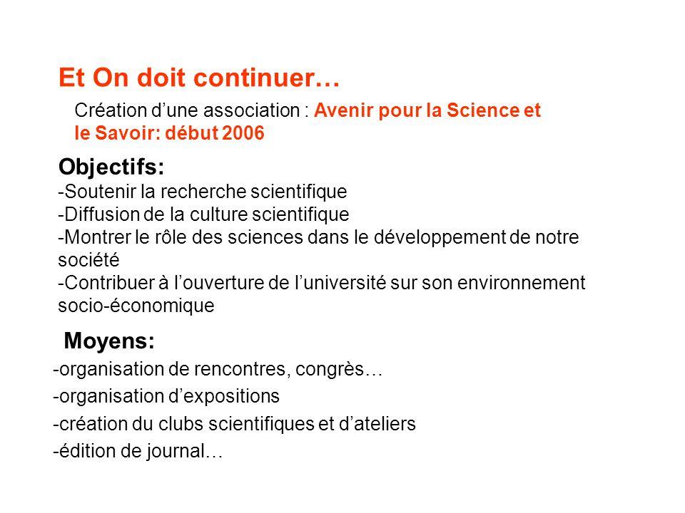 Et On doit continuer… Création dune association : Avenir pour la Science et le Savoir: début 2006 Objectifs: -Soutenir la recherche scientifique -Diff
