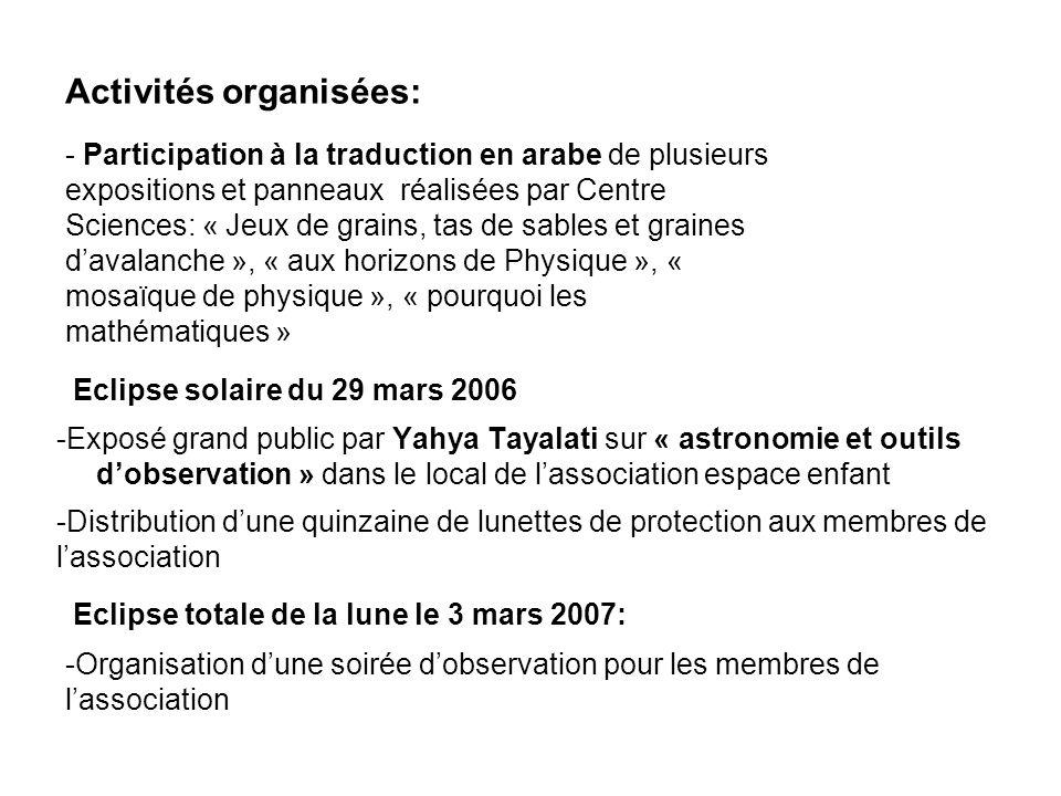 Activités organisées: - Participation à la traduction en arabe de plusieurs expositions et panneaux réalisées par Centre Sciences: « Jeux de grains, t