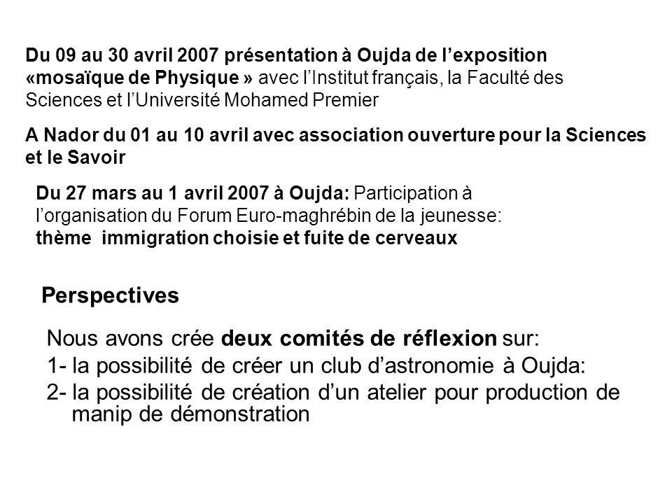 Du 09 au 30 avril 2007 présentation à Oujda de lexposition «mosaïque de Physique » avec lInstitut français, la Faculté des Sciences et lUniversité Moh