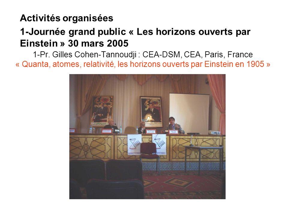 1-Pr. Gilles Cohen-Tannoudji : CEA-DSM, CEA, Paris, France « Quanta, atomes, relativité, les horizons ouverts par Einstein en 1905 » 1-Journée grand p