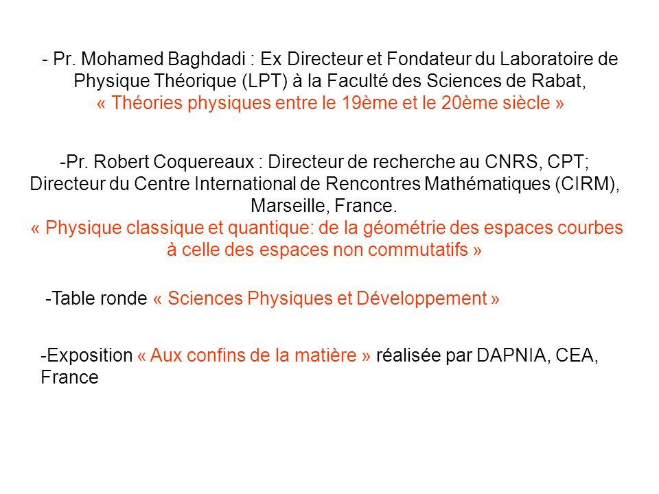 - Pr. Mohamed Baghdadi : Ex Directeur et Fondateur du Laboratoire de Physique Théorique (LPT) à la Faculté des Sciences de Rabat, « Théories physiques
