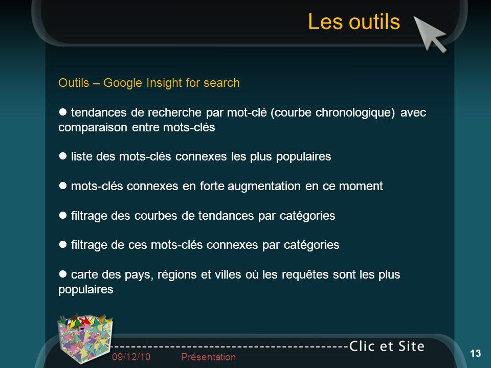 Outils – Google Insight for search tendances de recherche par mot-clé (courbe chronologique) avec comparaison entre mots-clés liste des mots-clés conn