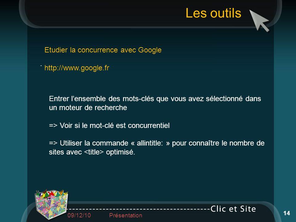 Etudier la concurrence avec Google http://www.google.fr. Entrer lensemble des mots-clés que vous avez sélectionné dans un moteur de recherche => Voir
