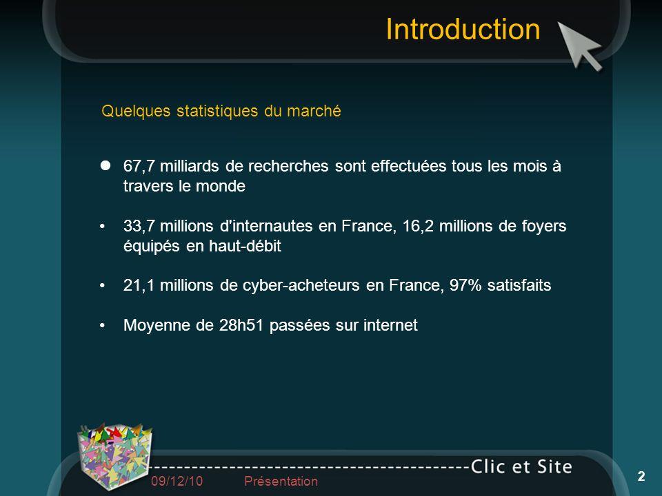 67,7 milliards de recherches sont effectuées tous les mois à travers le monde 33,7 millions d'internautes en France, 16,2 millions de foyers équipés e