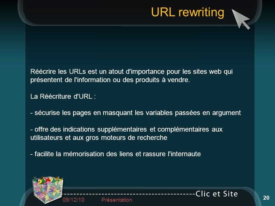Réécrire les URLs est un atout d'importance pour les sites web qui présentent de l'information ou des produits à vendre. La Réécriture d'URL : - sécur