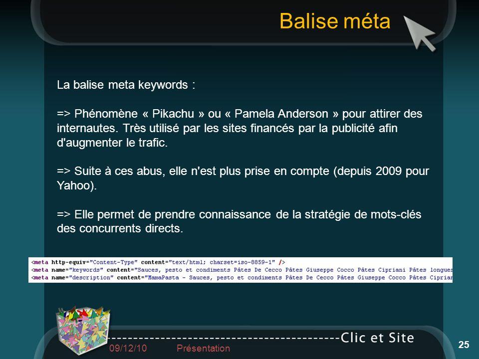 La balise meta keywords : => Phénomène « Pikachu » ou « Pamela Anderson » pour attirer des internautes. Très utilisé par les sites financés par la pub