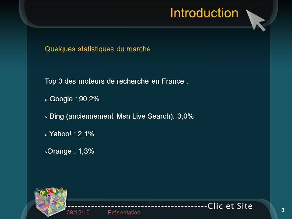 Quelques statistiques du marché Top 3 des moteurs de recherche en France : Google : 90,2% Bing (anciennement Msn Live Search): 3,0% Yahoo! : 2,1% Oran