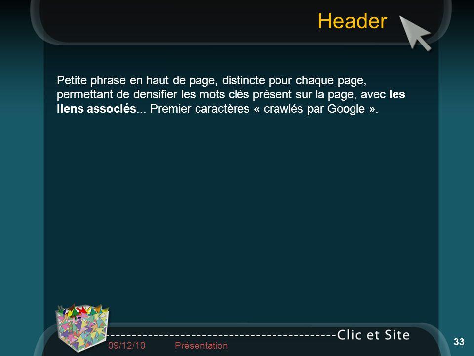 Header Petite phrase en haut de page, distincte pour chaque page, permettant de densifier les mots clés présent sur la page, avec les liens associés..