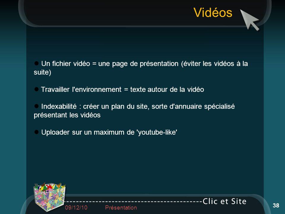 Un fichier vidéo = une page de présentation (éviter les vidéos à la suite) Travailler l'environnement = texte autour de la vidéo Indexabilité : créer