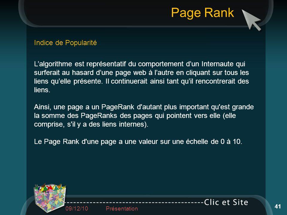 Lalgorithme est représentatif du comportement dun Internaute qui surferait au hasard dune page web à lautre en cliquant sur tous les liens quelle prés