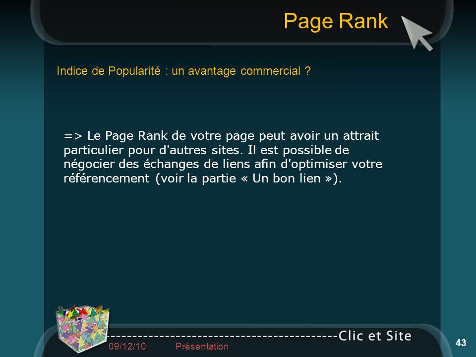 Indice de Popularité : un avantage commercial ? Page Rank 43 => Le Page Rank de votre page peut avoir un attrait particulier pour d'autres sites. Il e