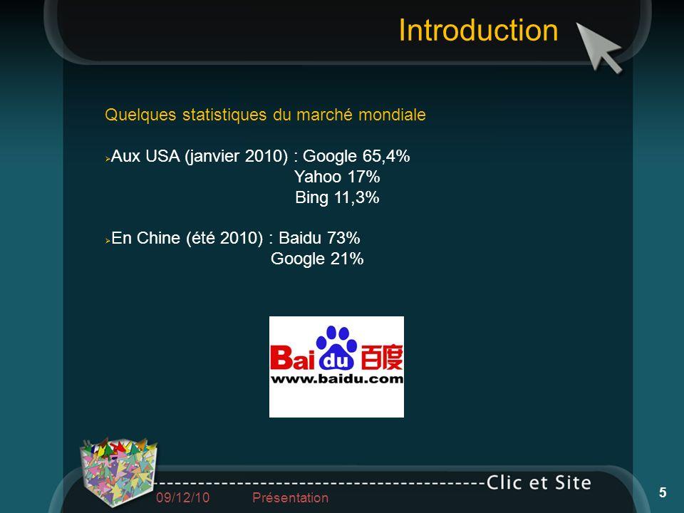 Quelques statistiques du marché mondiale Aux USA (janvier 2010) : Google 65,4% Yahoo 17% Bing 11,3% En Chine (été 2010) : Baidu 73% Google 21% Introdu