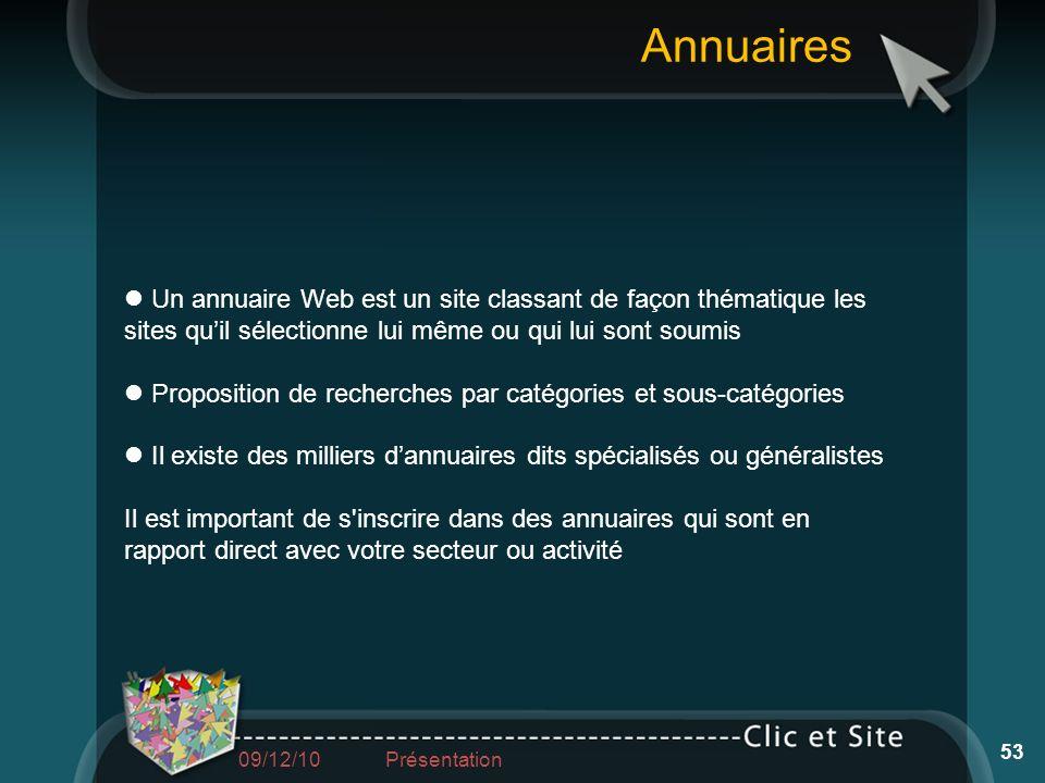 Un annuaire Web est un site classant de façon thématique les sites quil sélectionne lui même ou qui lui sont soumis Proposition de recherches par caté