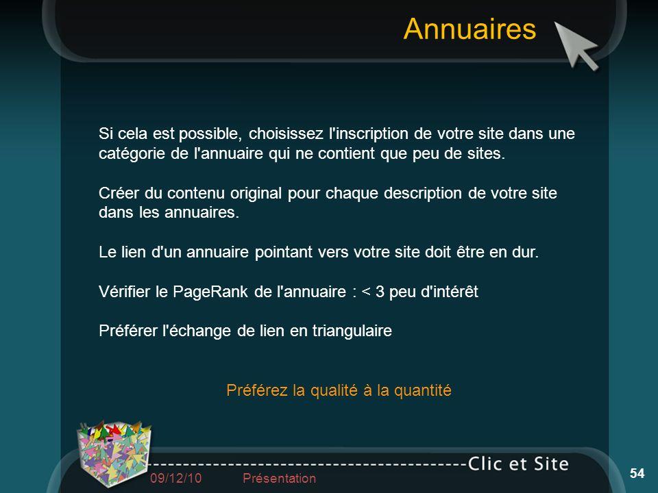 Si cela est possible, choisissez l'inscription de votre site dans une catégorie de l'annuaire qui ne contient que peu de sites. Créer du contenu origi