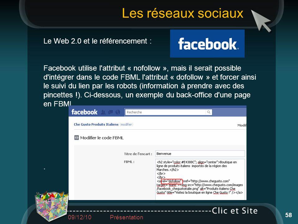 Le Web 2.0 et le référencement : Facebook utilise l'attribut « nofollow », mais il serait possible d'intégrer dans le code FBML l'attribut « dofollow