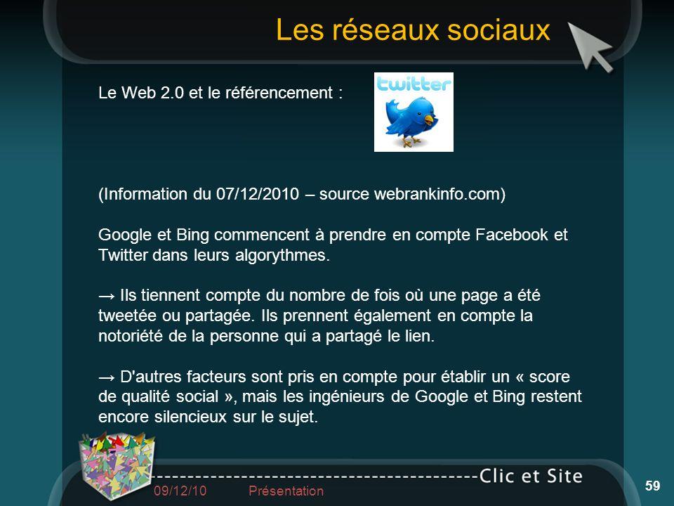 Le Web 2.0 et le référencement : (Information du 07/12/2010 – source webrankinfo.com) Google et Bing commencent à prendre en compte Facebook et Twitte