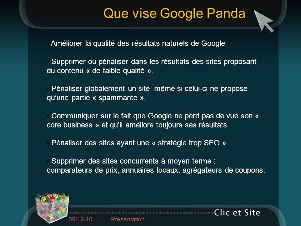 09/12/10 Présentation Améliorer la qualité des résultats naturels de Google Supprimer ou pénaliser dans les résultats des sites proposant du contenu «