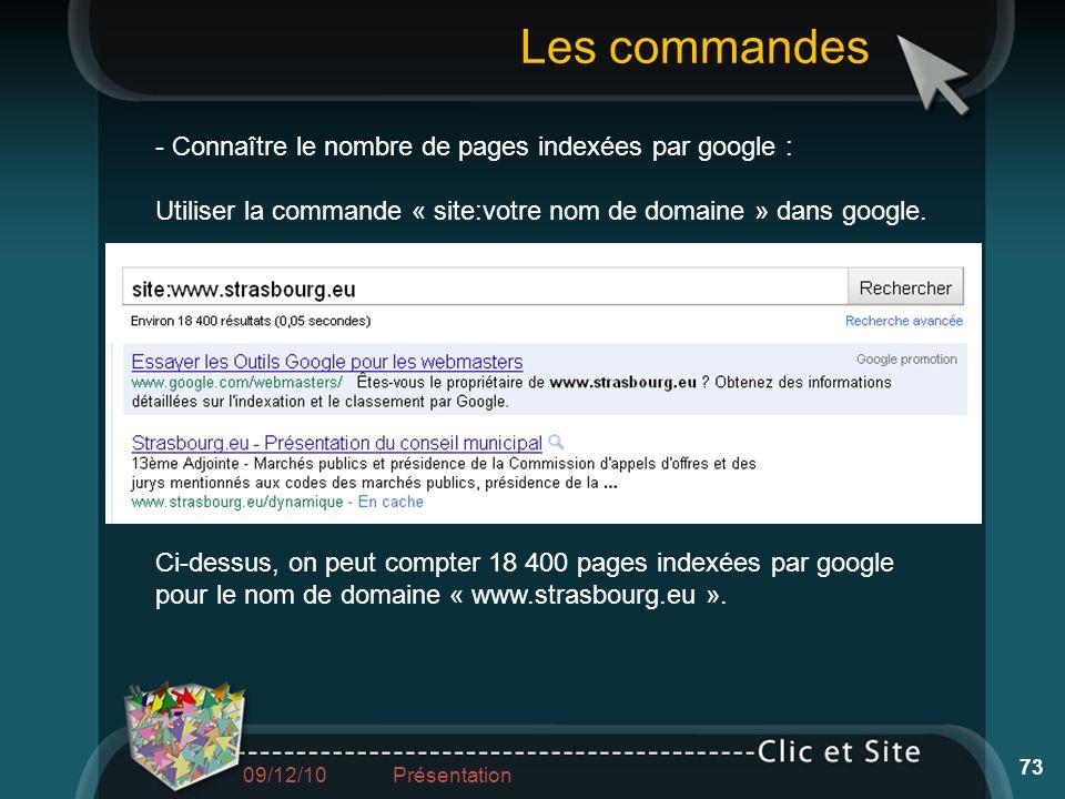 - Connaître le nombre de pages indexées par google : Utiliser la commande « site:votre nom de domaine » dans google. Ci-dessus, on peut compter 18 400